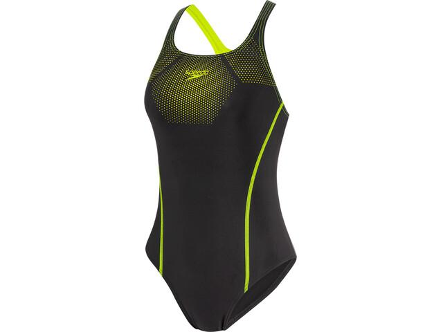 speedo Tech Placement Medalist One Piece Swimsuit Women black/fluo yellow